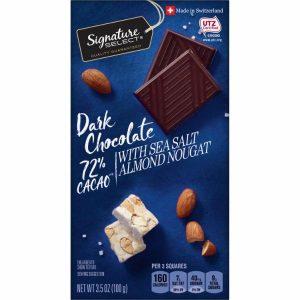 Juodasis šokoladas su jūros druska ir migdolų nuga SIGNATURE SELECT 72 %, 100 g