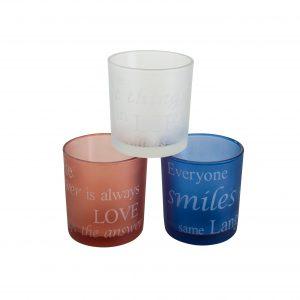Stiklinių žvakidžių rinkinys, 3 vnt.