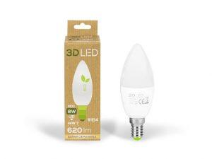 LED lemputė 3D LED, 8 W, šilto balto atspalvio, 1 vnt.