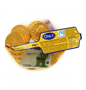 Pieniško šokolado saldainiai ONLY (eurai), 100 g