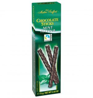 Šokoladinės lazdelės su pipirmėčių skonio įdaru MAITRE TRUFFOUT MINT, 75 g