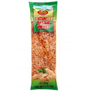 Saldainis su sezamų sėklomis ir žemės riešutais ERDNUSS SESAM RIEGEL, 60 g