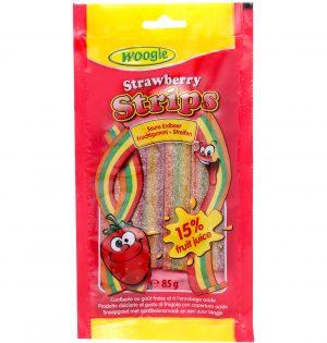 Braškių skonio saldainiai su rūgščia glazūra WOOGIE STRAWBERRY, 85 g