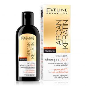 Plaukų šampūnas EVELINE COSMETICS ARGAN + KERATIN 8 IN 1, 150 ml