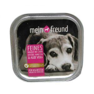 Šunų maistas, guliašas su ėriena, paukštiena, morkomis ir alavijais MEIN FREUND, 150 g