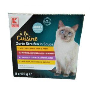 Kačių maistas, guliašo rinkinys K-CLASSIC, 8 x 100 g
