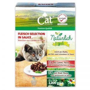 Kačių maistas, guliašo rinkinys  CAT BON BON, 12 x 100 g
