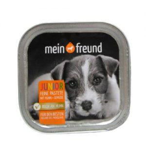 Šuniukų maistas, paštetas su vištiena ir daržovėmis MEIN FREUND, 150 g