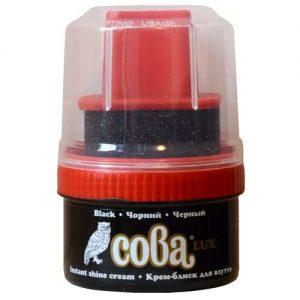 Juodos spalvos batų tepalas su kempinėle SOVA LUX, 50 ml