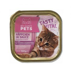 Kačių maistas, guliašas su vištiena ir morkomis MY HAPPY PETS, 100 g