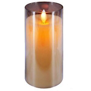 LED žvakė stikle 7,5x15cm, 1 vnt.