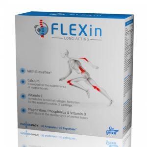 Maisto papildas FLEXIN LONG ACTING FUSIONPACK, 30 ampulių + 30 kapsulių