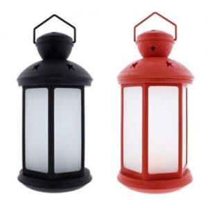 Žibintas su LED, raudonos spalvos, 17,5x17,5x36 cm