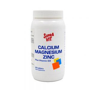 Maisto papildas SUPRA VIT CALCIUM MAGNESIUM ZINC D3, 60 tab.