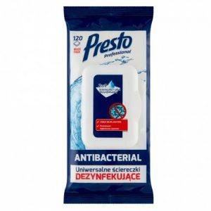 Antibakterinės dezinfekcinės servetėlės PRESTO, 120 vnt.
