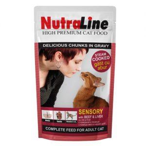 Kačių maistas, guliašas su jautiena ir kepenimis NUTRALINE, 100 g