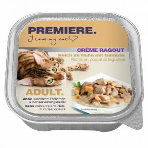 Kačių maistas, guliašas su vištiena ir daržovėmis PREMIERE, 100 g