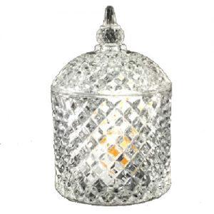 Stiklinė dekoracija su dangteliu, 14,5x9,5cm, 1 vnt.