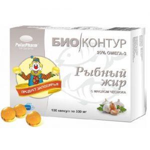 Žuvų taukai su česnakų aliejumi POLARPHARM, 100 kaps.