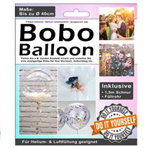 Apvalus balionas su vamzdeliu dekoracijų talpinimui 40 cm, 1 vnt.