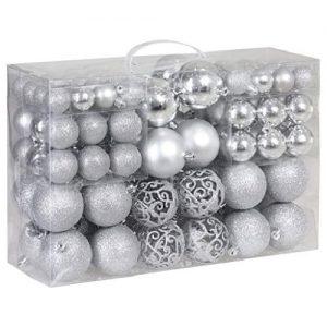 Eglutės žaisliukų rinkinys, sidabriniai, 100 vnt.